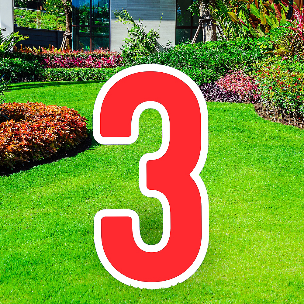 Giant Red Corrugated Plastic Number (3) Yard Sign, 30in Image #1