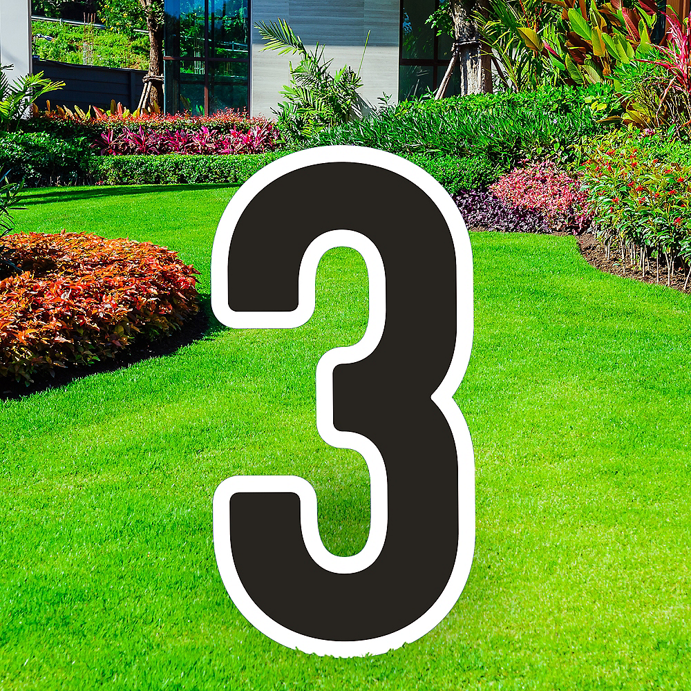 Giant Black Corrugated Plastic Number (3) Yard Sign, 30in Image #1