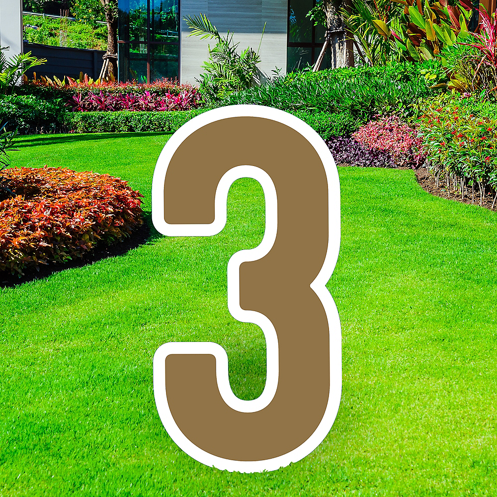 Giant Gold Corrugated Plastic Number (3) Yard Sign, 30in Image #1