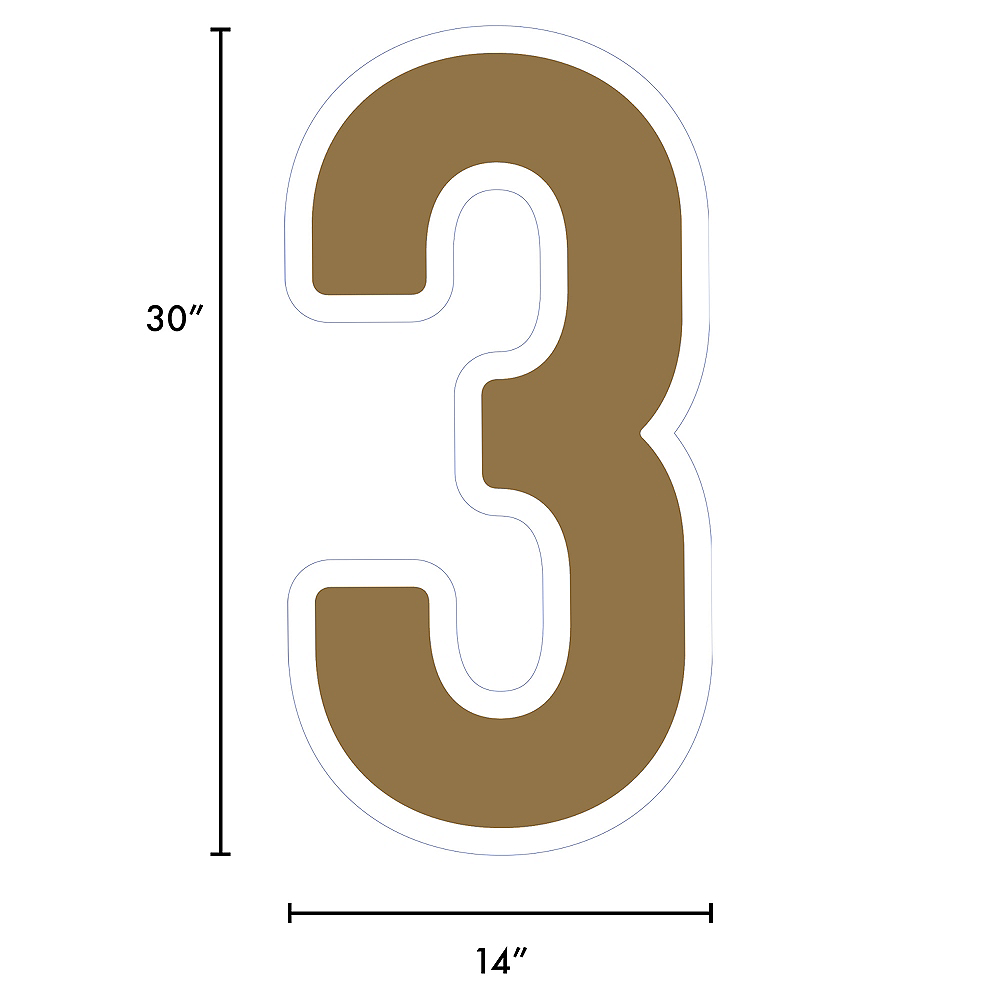 Giant Gold Corrugated Plastic Number (3) Yard Sign, 30in Image #2