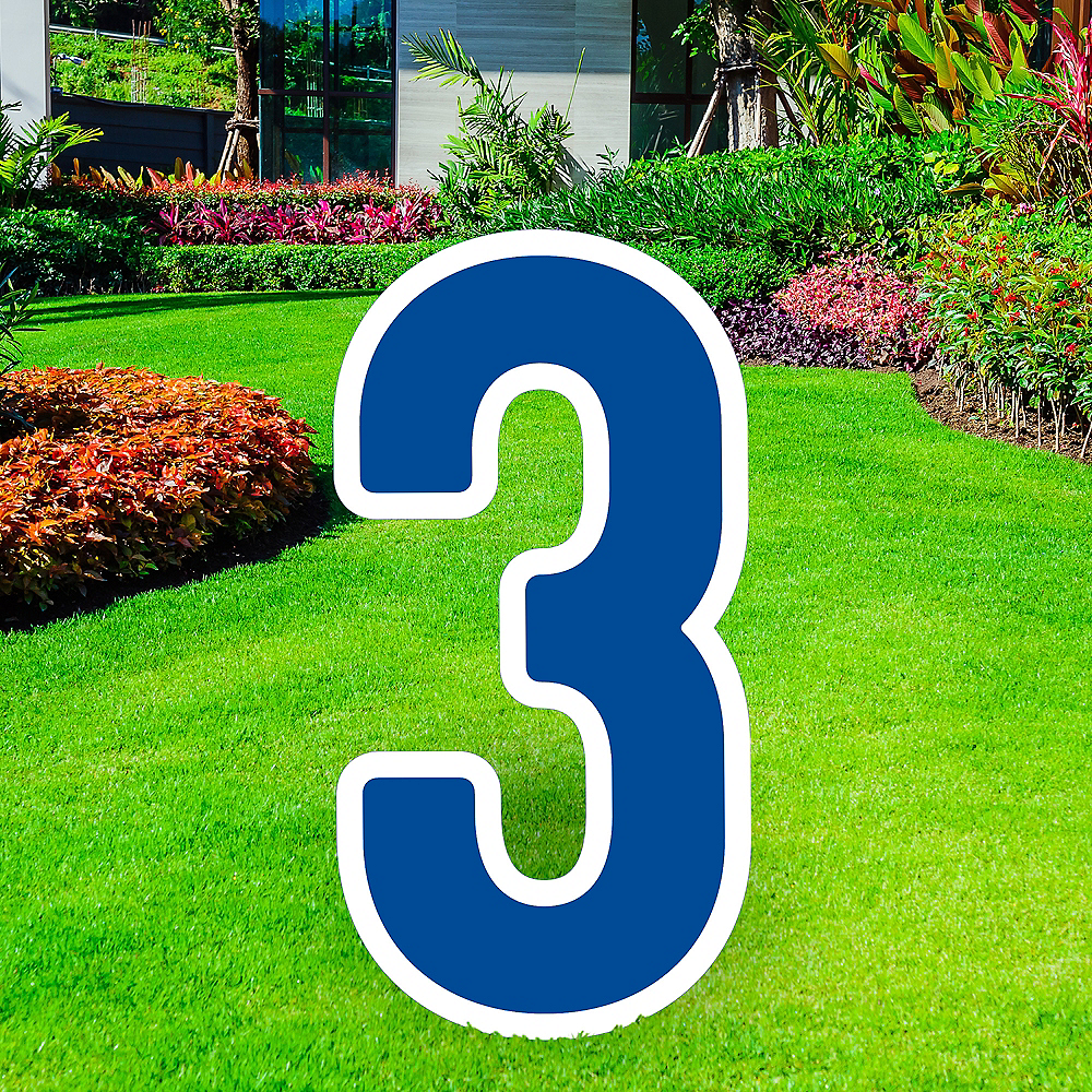 Giant Royal Blue Corrugated Plastic Number (3) Yard Sign, 30in Image #1