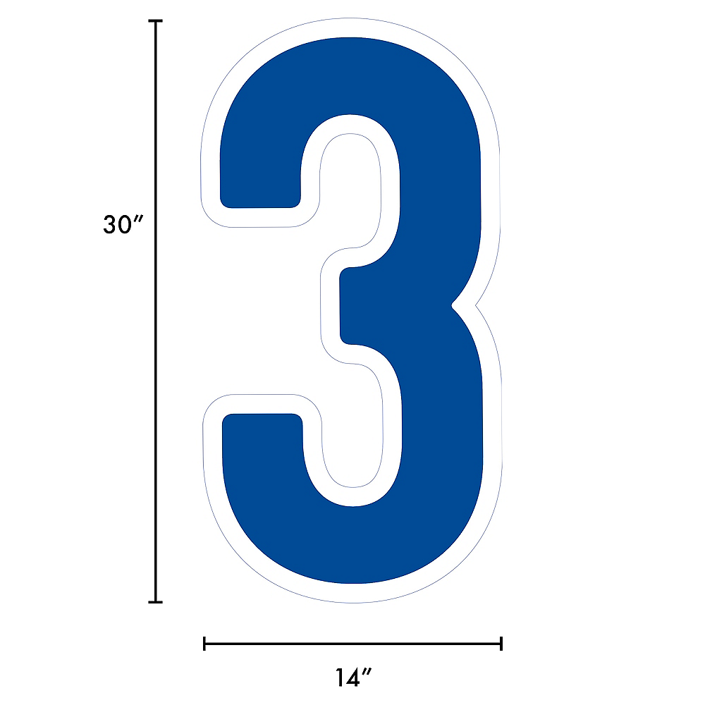 Giant Royal Blue Corrugated Plastic Number (3) Yard Sign, 30in Image #2
