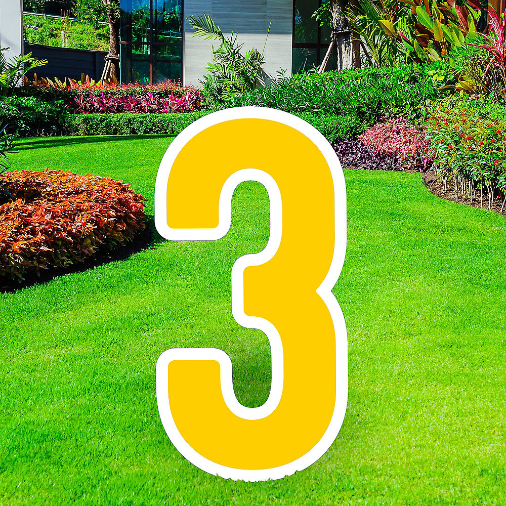 Giant Yellow Corrugated Plastic Number (3) Yard Sign, 30in Image #1