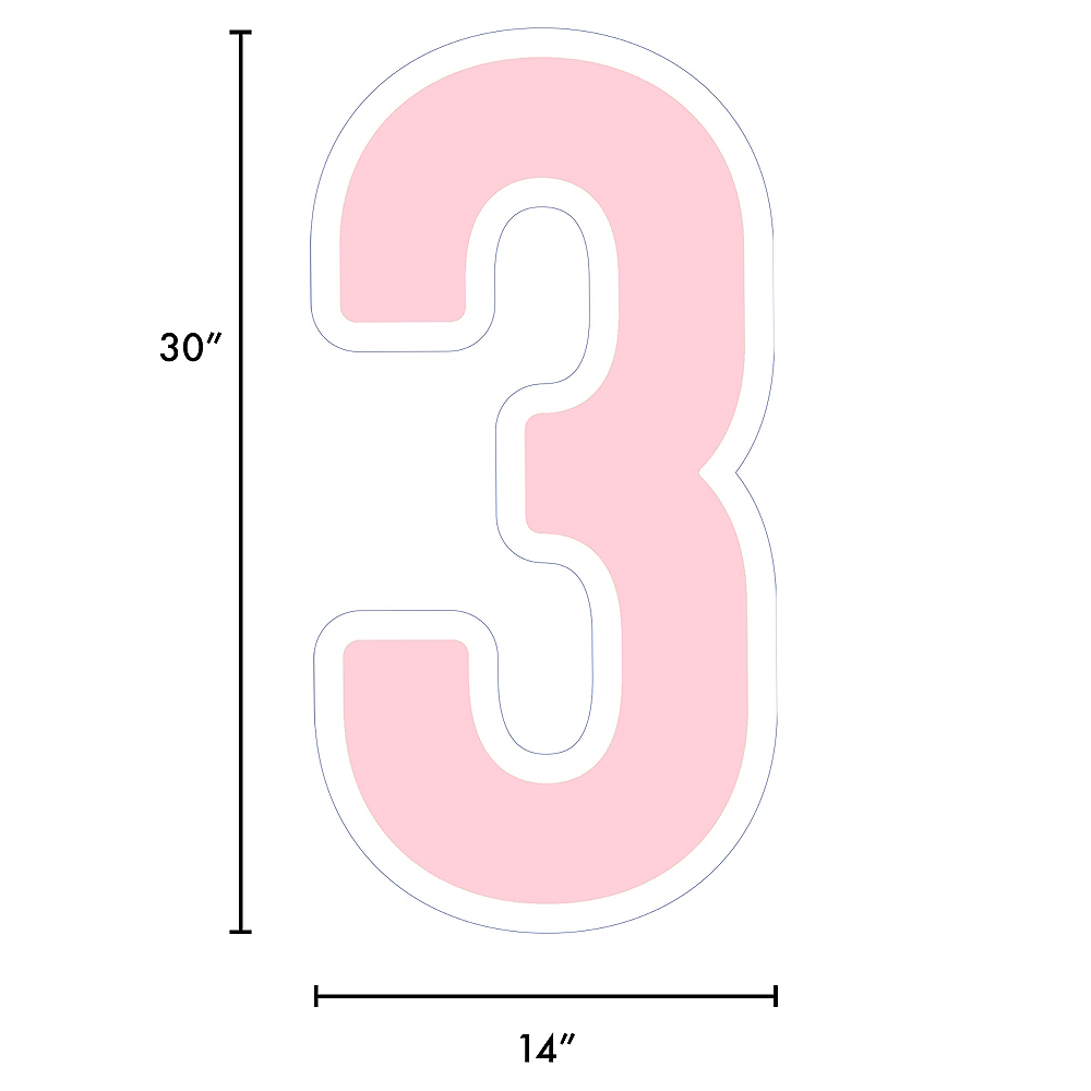 Giant Blush Pink Corrugated Plastic Number (3) Yard Sign, 30in Image #2