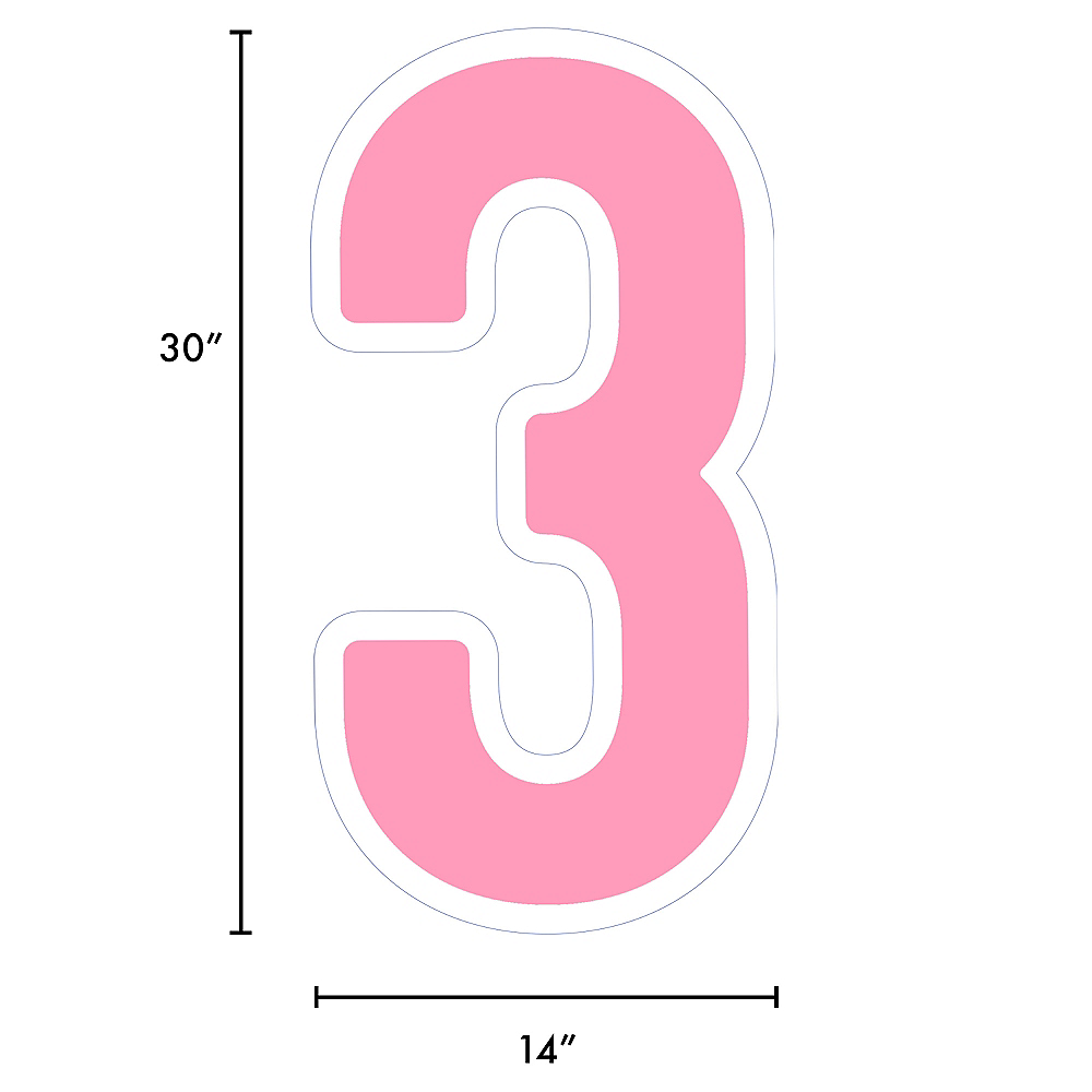 Giant Pink Corrugated Plastic Number (3) Yard Sign, 30in Image #2