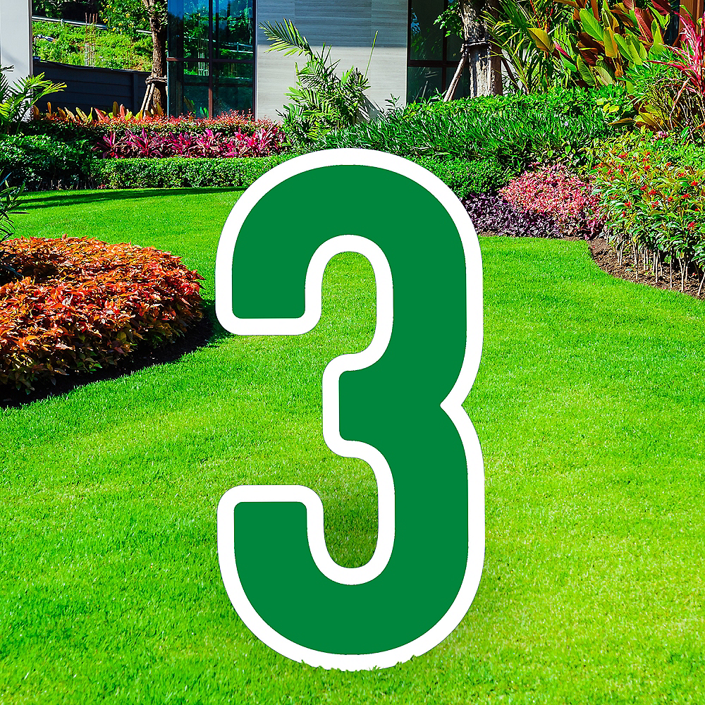 Giant Festive Green Corrugated Plastic Number (3) Yard Sign, 30in Image #1