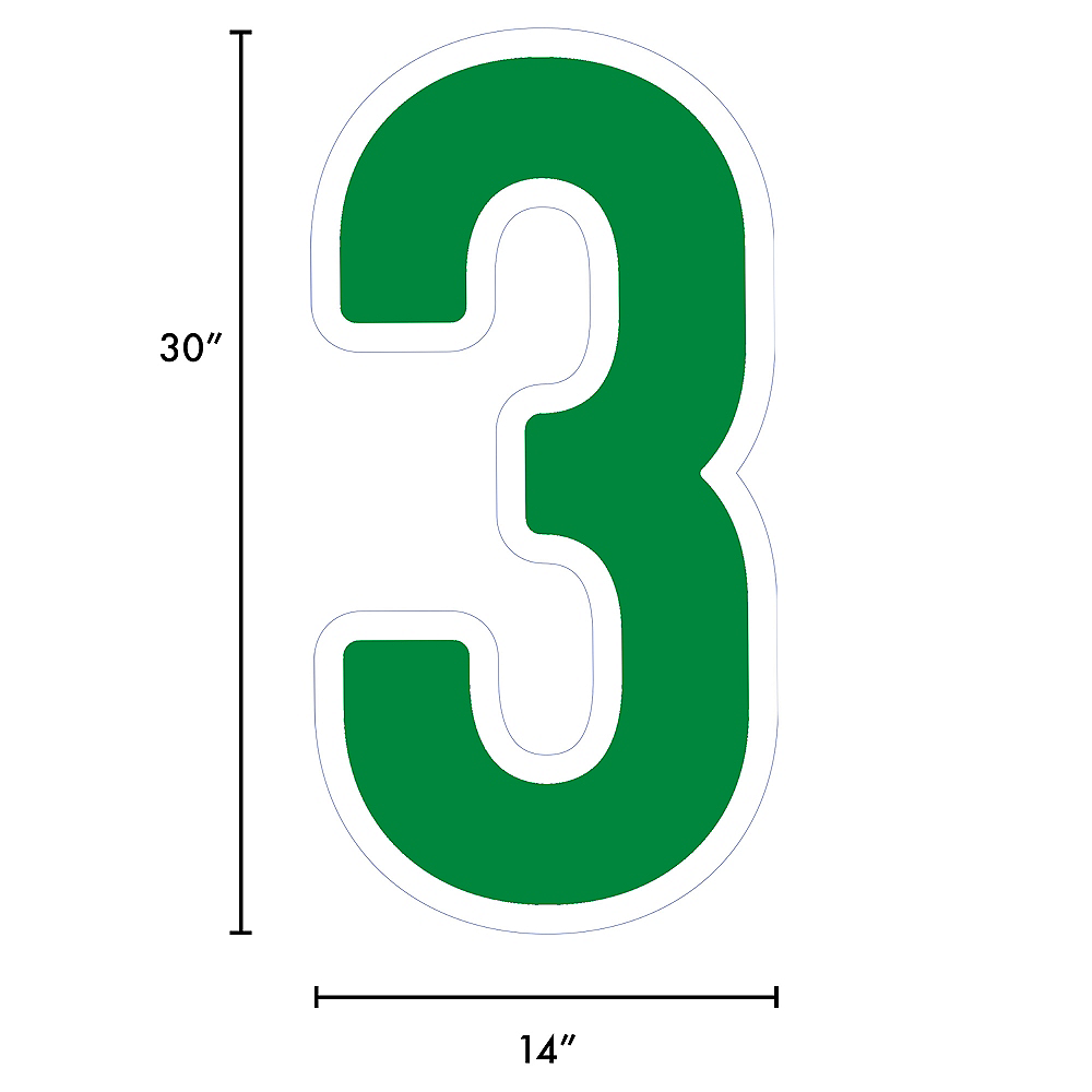 Giant Festive Green Corrugated Plastic Number (3) Yard Sign, 30in Image #2