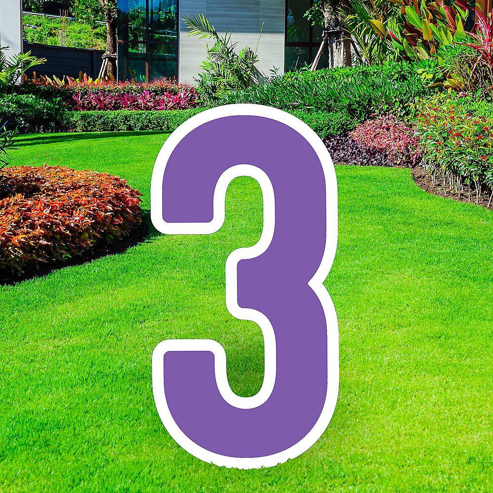 Giant Purple Corrugated Plastic Number (3) Yard Sign, 30in Image #1