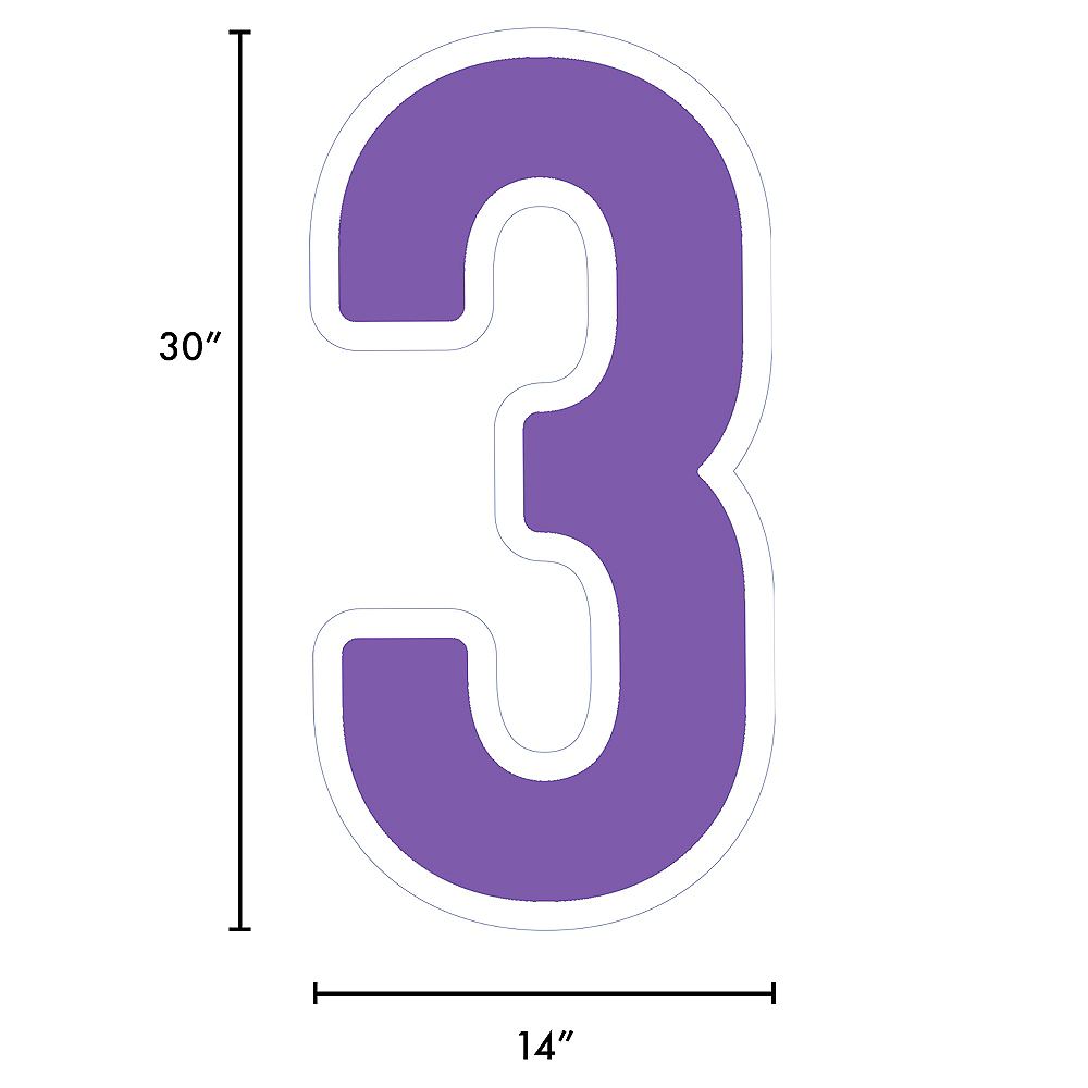 Giant Purple Corrugated Plastic Number (3) Yard Sign, 30in Image #2
