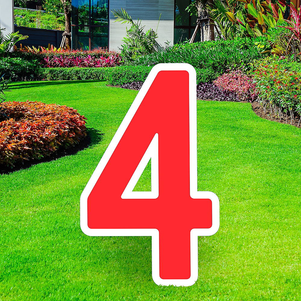 Giant Red Corrugated Plastic Number (4) Yard Sign, 30in Image #1