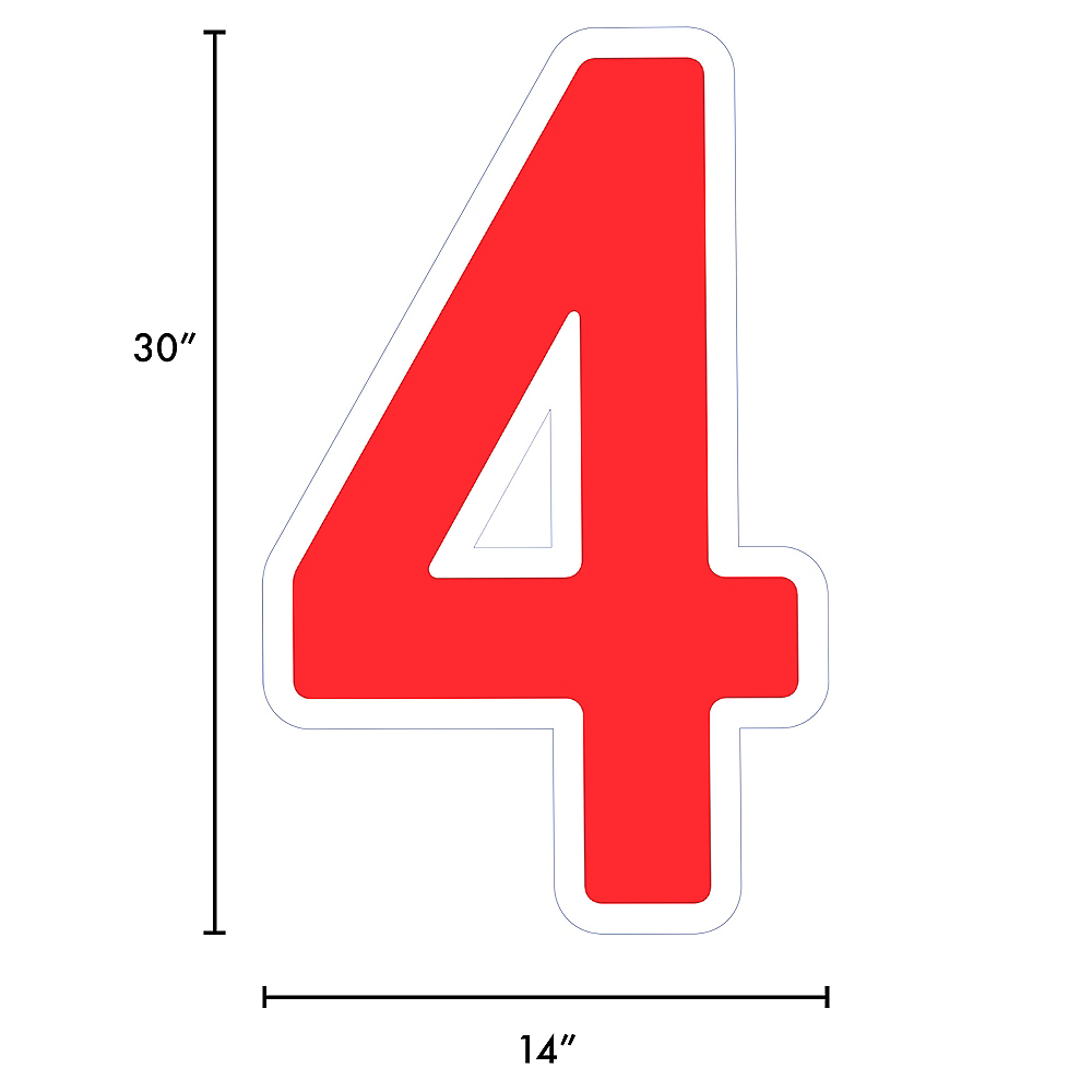 Giant Red Corrugated Plastic Number (4) Yard Sign, 30in Image #2