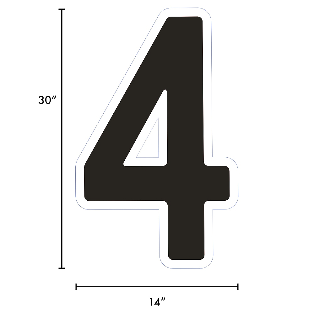 Giant Black Corrugated Plastic Number (4) Yard Sign, 30in Image #2