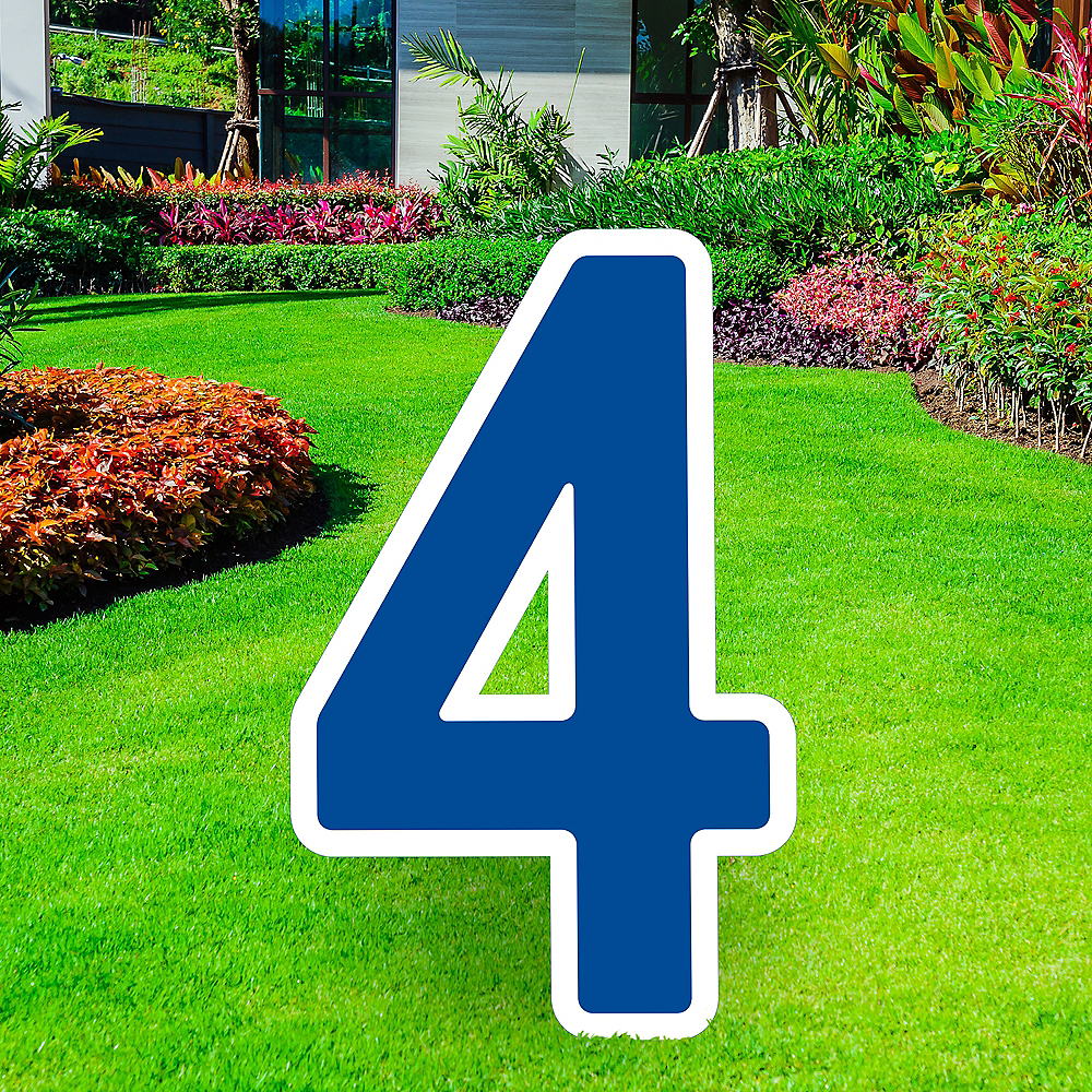 Giant Royal Blue Corrugated Plastic Number (4) Yard Sign, 30in Image #1