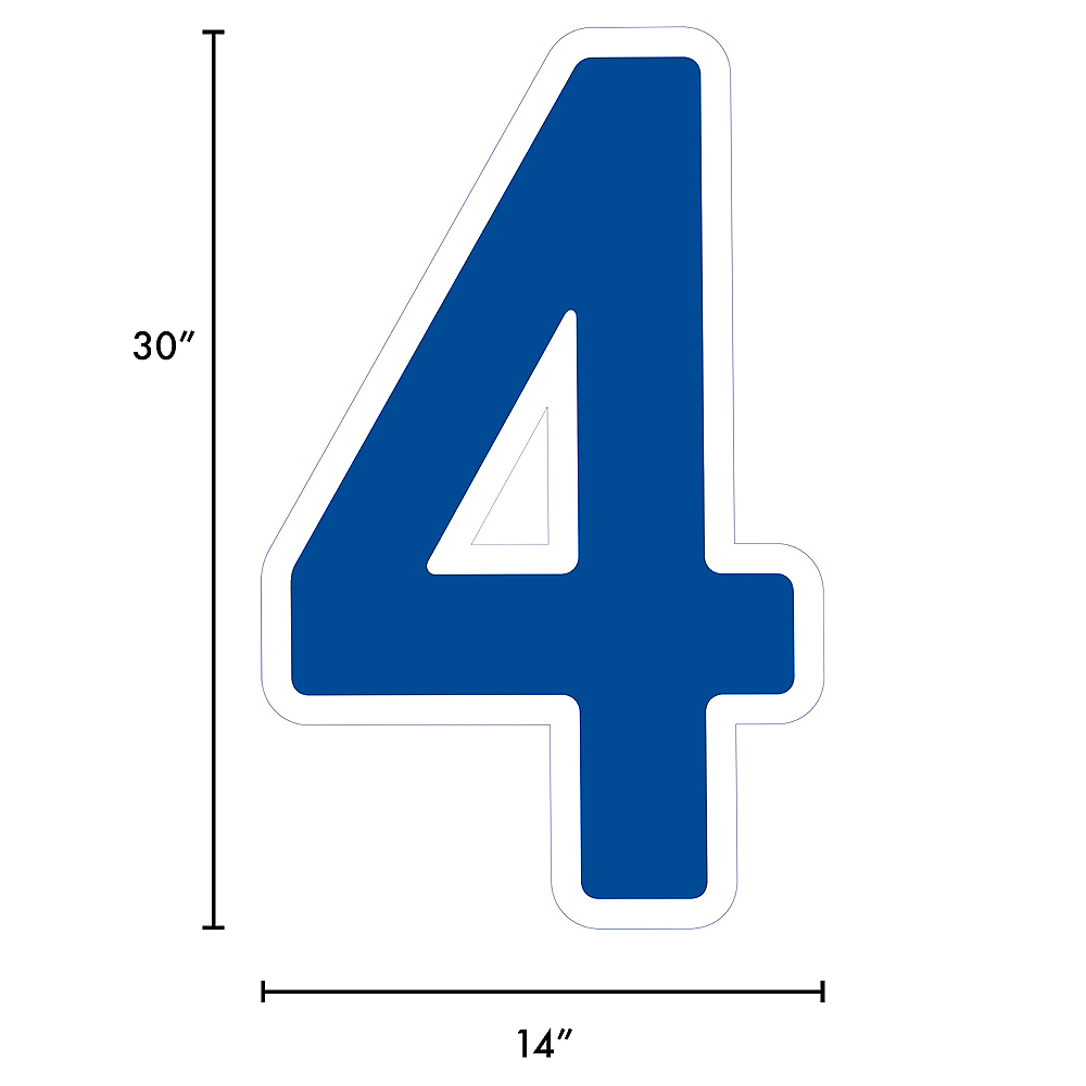 Giant Royal Blue Corrugated Plastic Number (4) Yard Sign, 30in Image #2