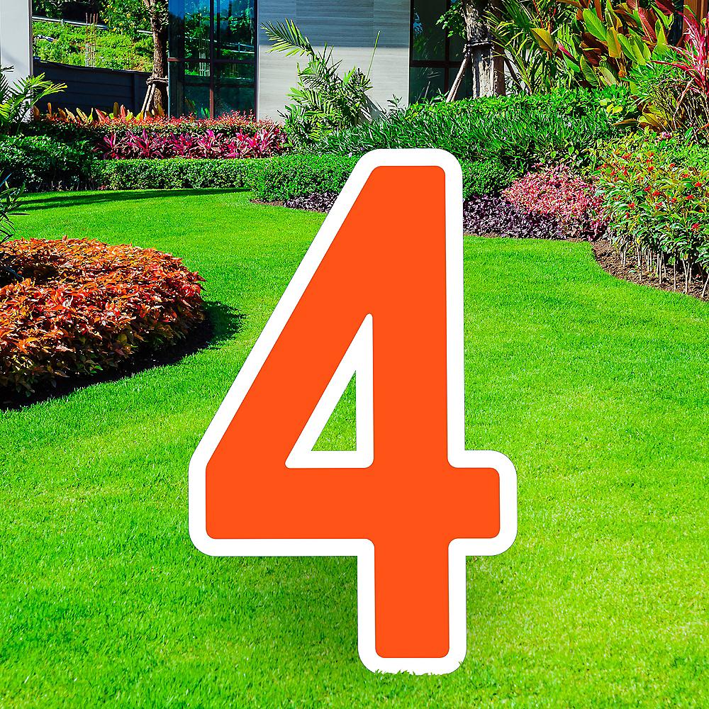 Giant Orange Corrugated Plastic Number (4) Yard Sign, 30in Image #1