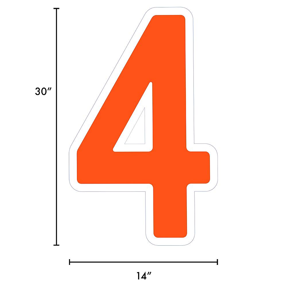 Giant Orange Corrugated Plastic Number (4) Yard Sign, 30in Image #2