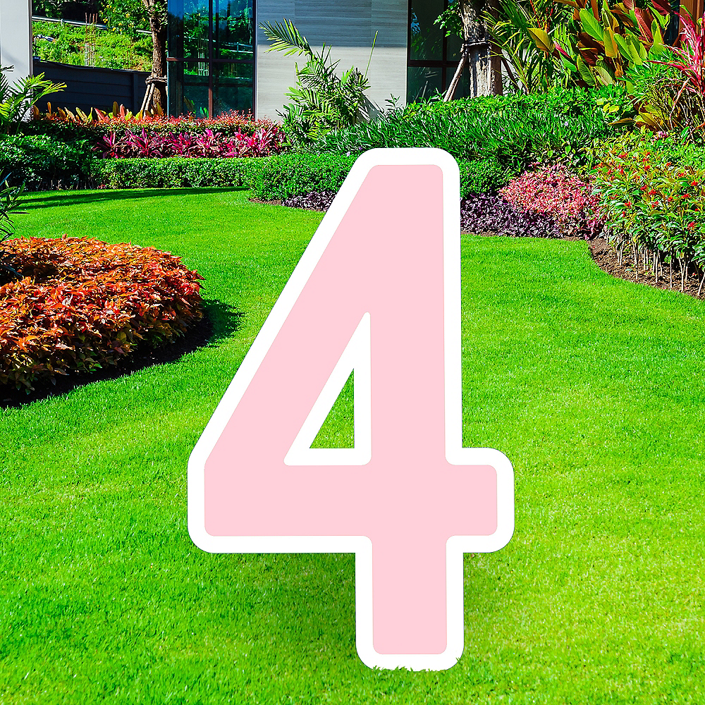 Giant Blush Pink Corrugated Plastic Number (4) Yard Sign, 30in Image #1