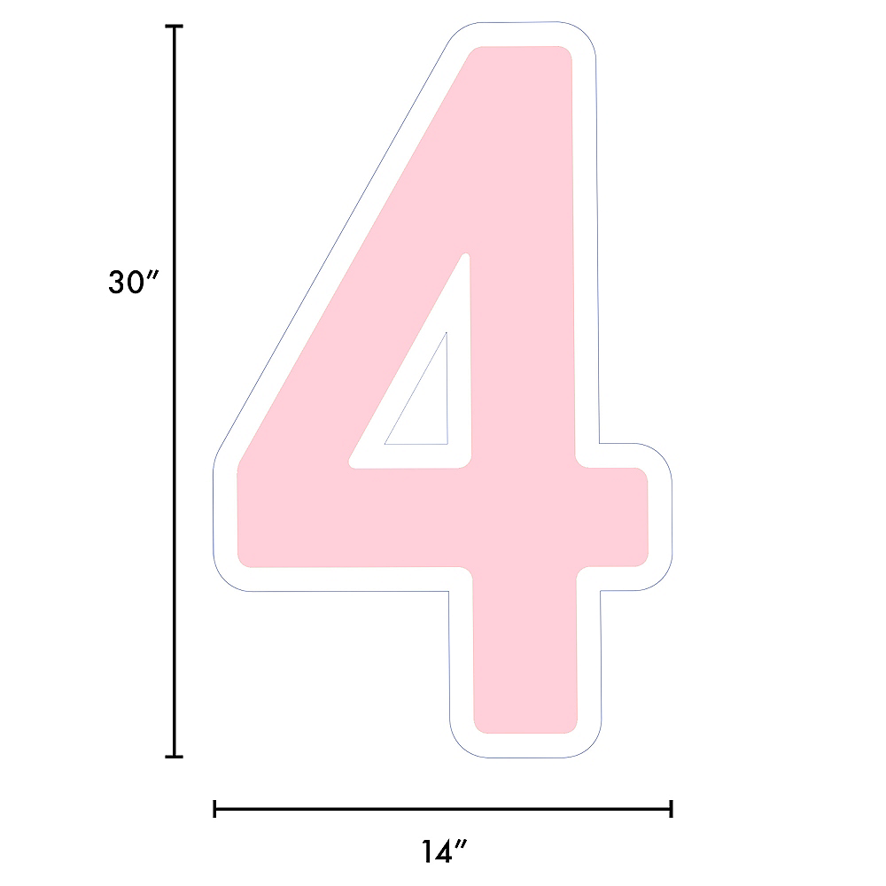 Giant Blush Pink Corrugated Plastic Number (4) Yard Sign, 30in Image #2