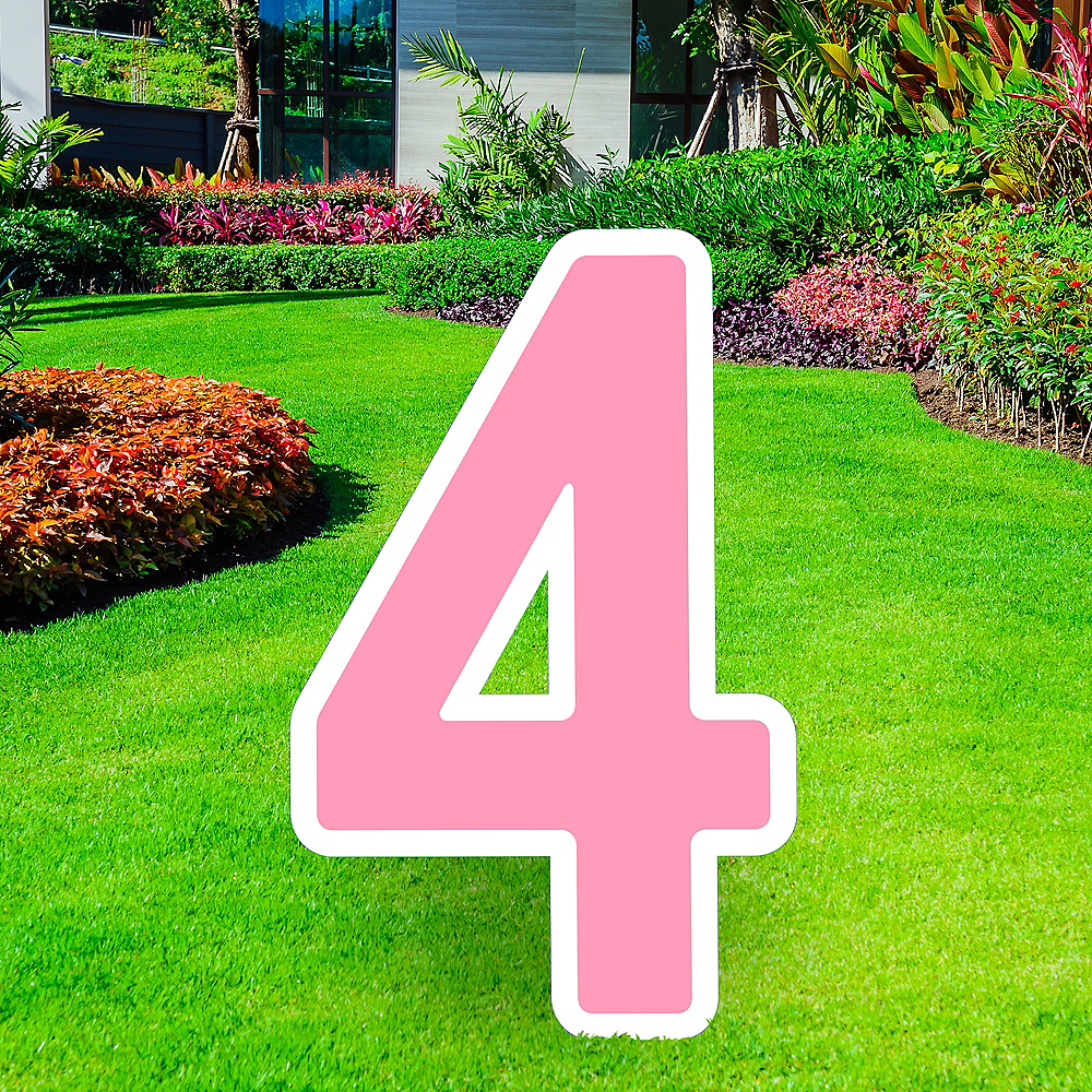 Giant Pink Corrugated Plastic Number (4) Yard Sign, 30in Image #1