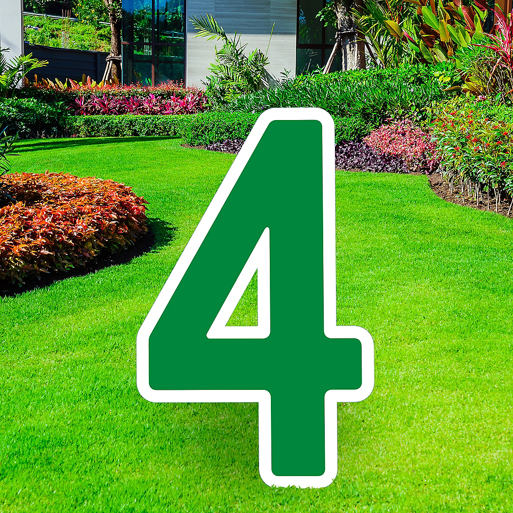 Giant Festive Green Corrugated Plastic Number (4) Yard Sign, 30in Image #1