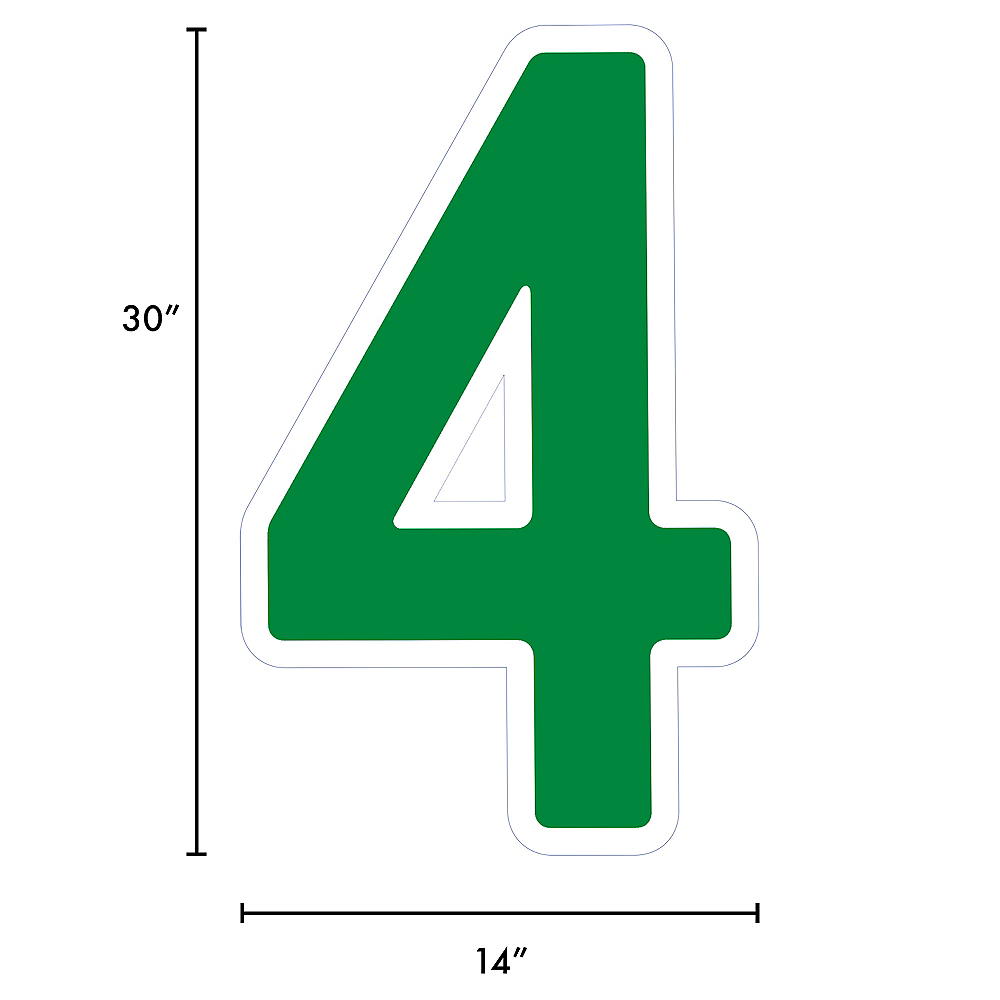 Giant Festive Green Corrugated Plastic Number (4) Yard Sign, 30in Image #2