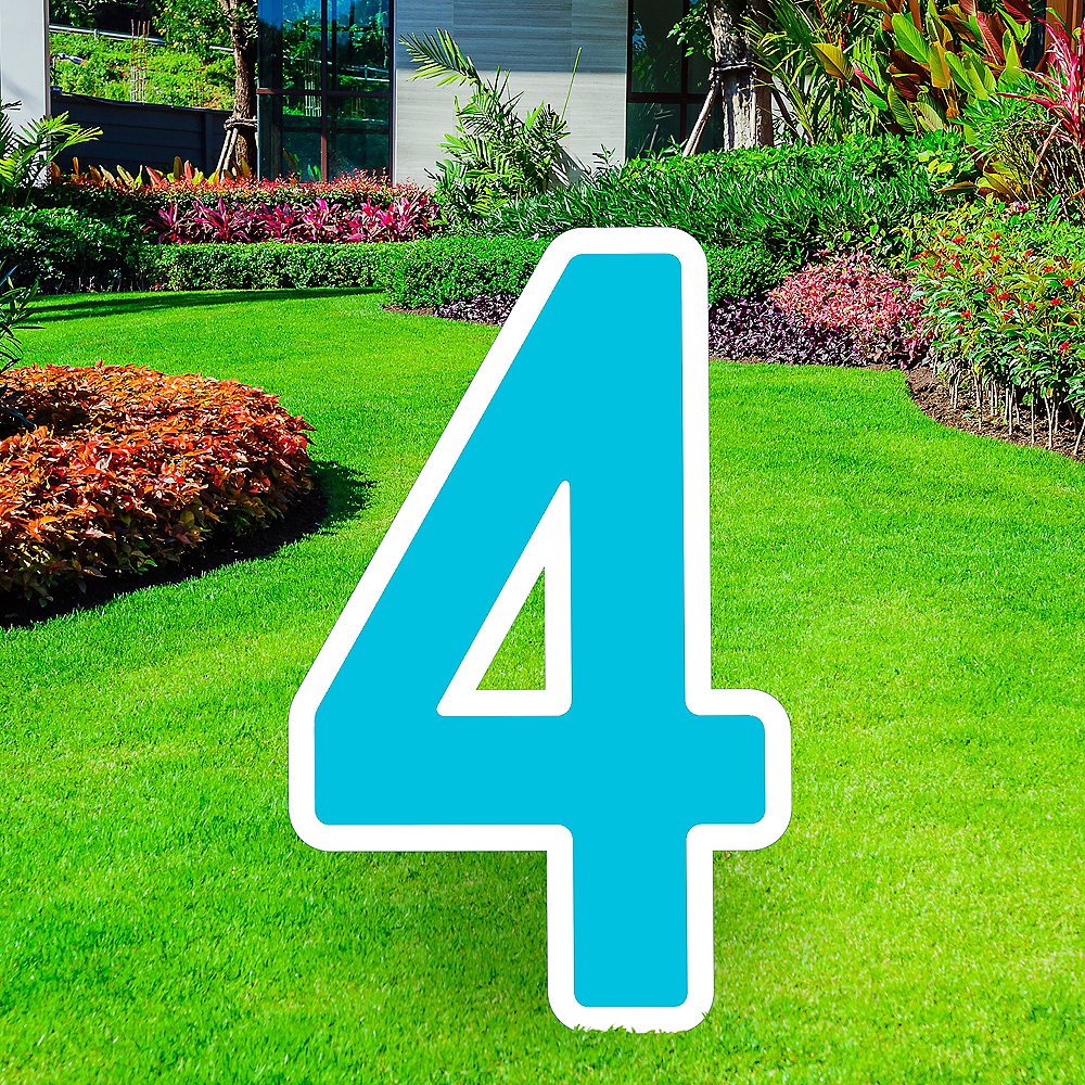 Giant Caribbean Blue Corrugated Plastic Number (4) Yard Sign, 30in Image #1