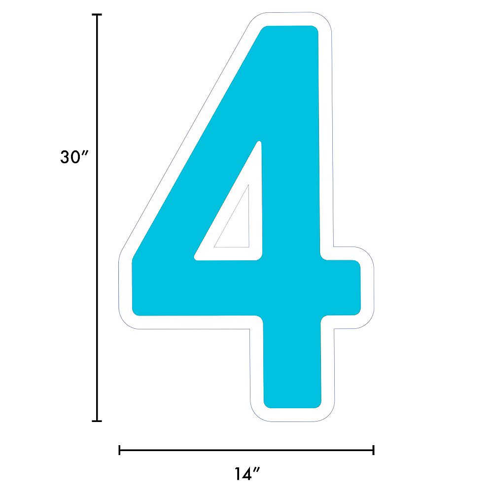 Giant Caribbean Blue Corrugated Plastic Number (4) Yard Sign, 30in Image #2