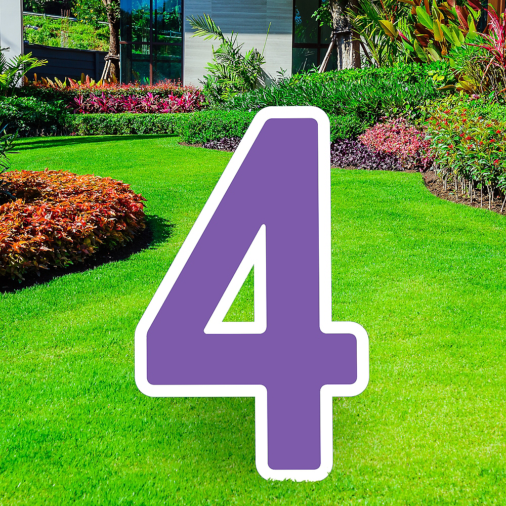 Giant Purple Corrugated Plastic Number (4) Yard Sign, 30in Image #1