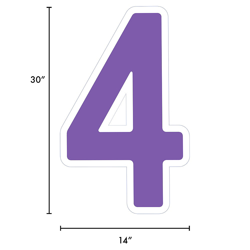 Giant Purple Corrugated Plastic Number (4) Yard Sign, 30in Image #2