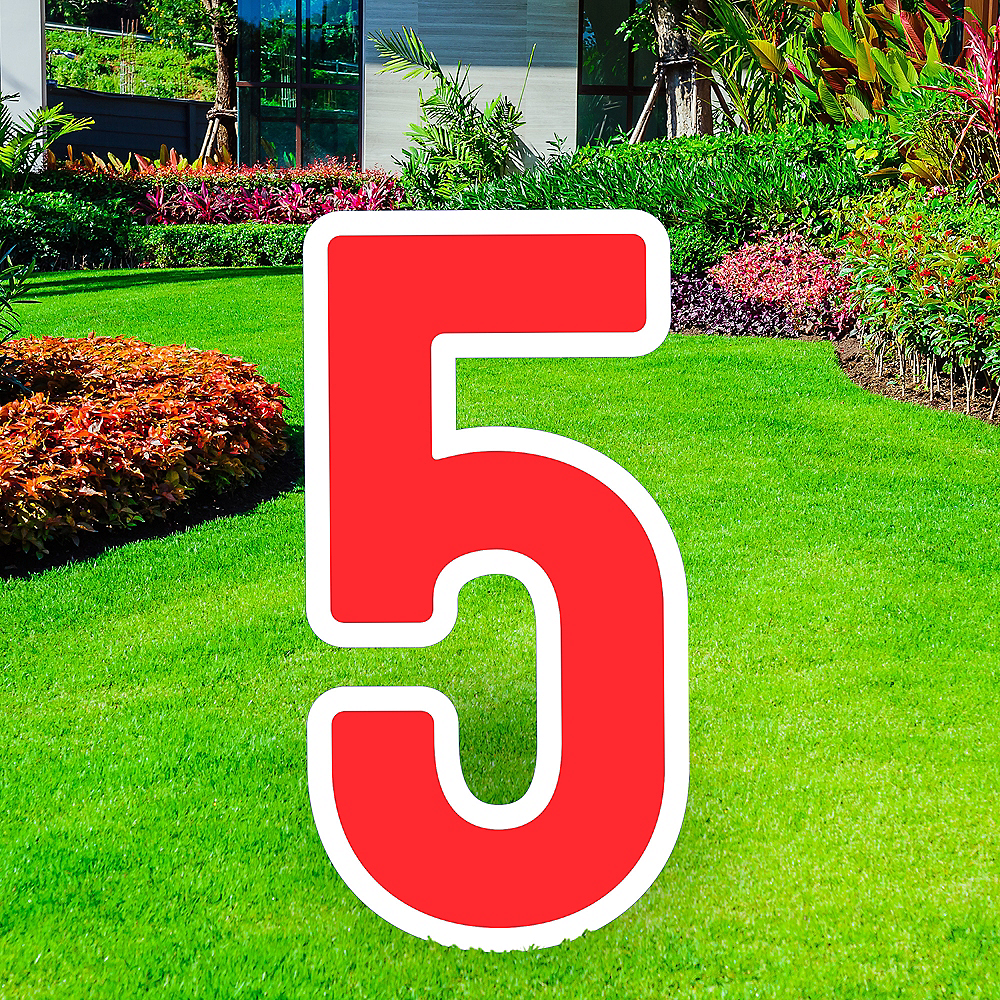 Giant Red Corrugated Plastic Number (5) Yard Sign, 30in Image #1
