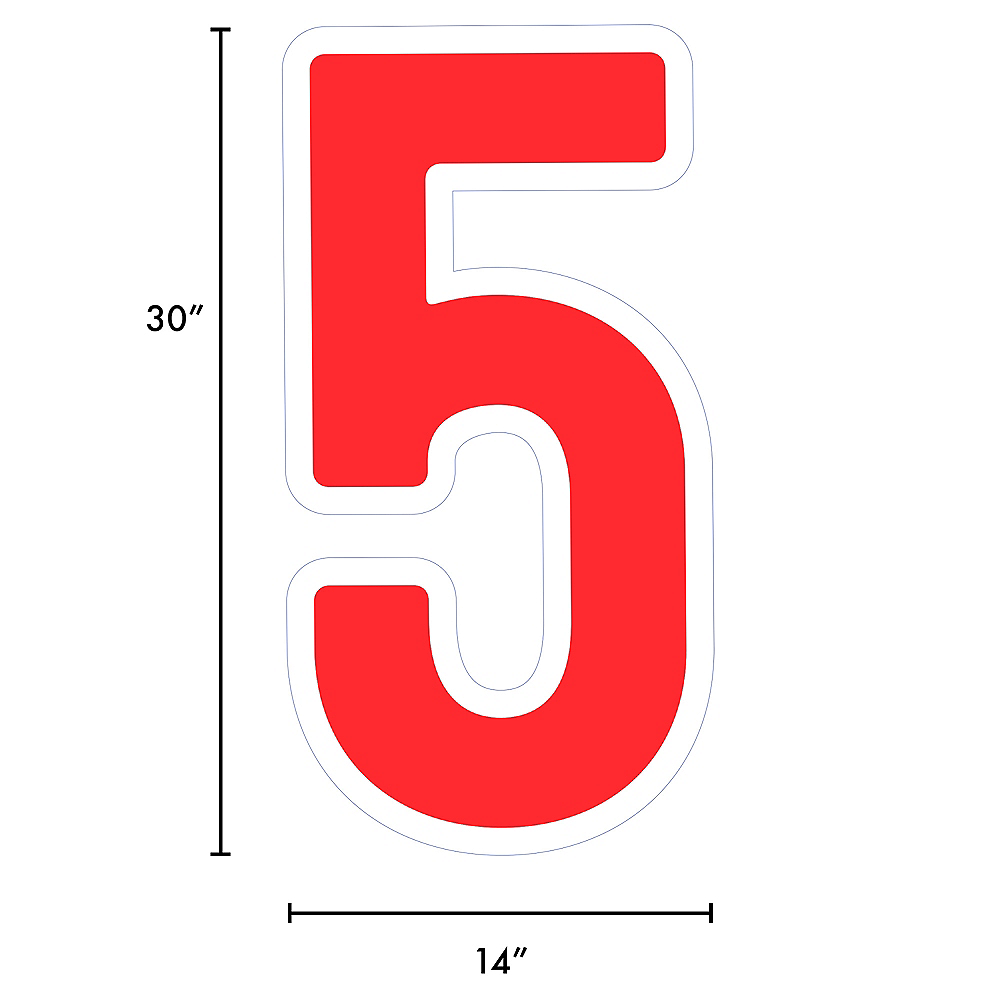 Giant Red Corrugated Plastic Number (5) Yard Sign, 30in Image #2