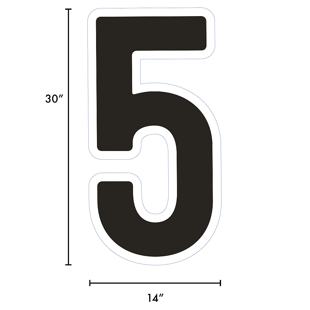 Giant Black Corrugated Plastic Number (5) Yard Sign, 30in Image #2