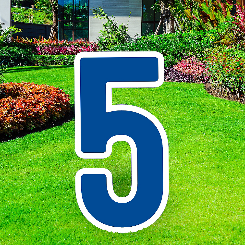 Giant Royal Blue Corrugated Plastic Number (5) Yard Sign, 30in Image #1