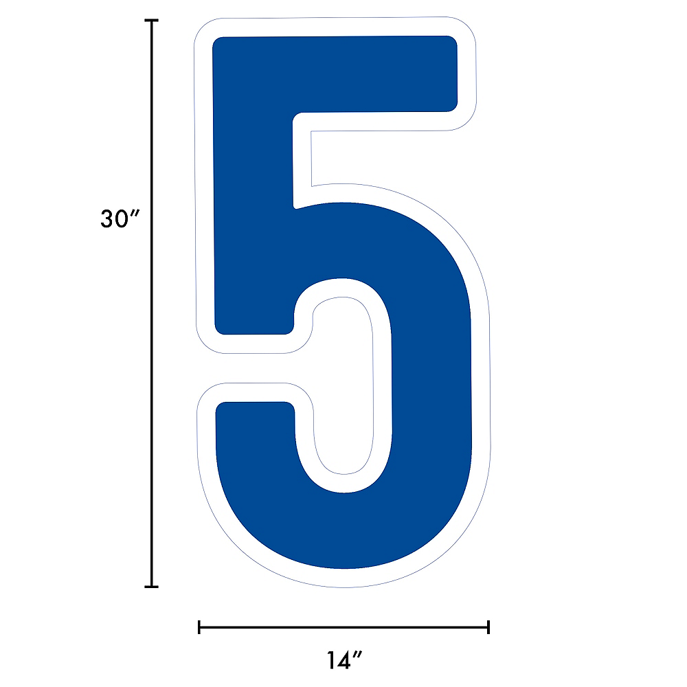 Giant Royal Blue Corrugated Plastic Number (5) Yard Sign, 30in Image #2