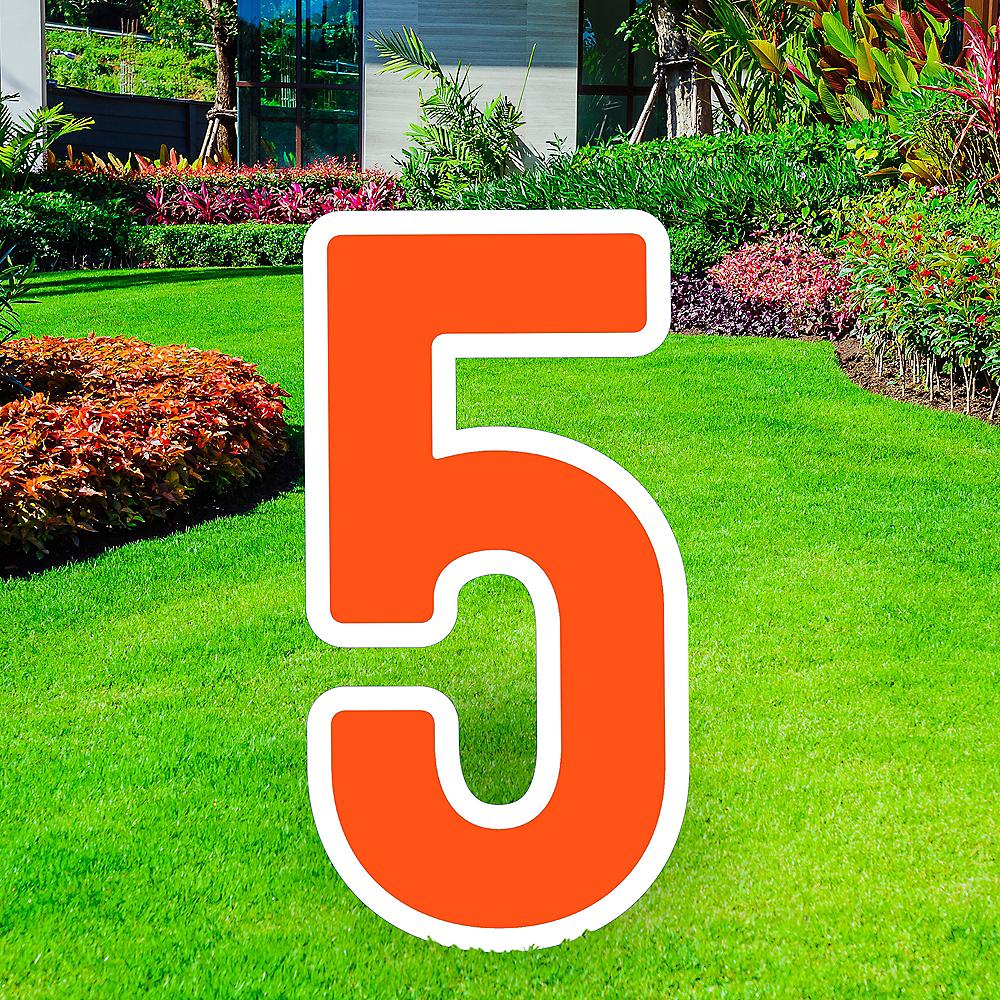 Giant Orange Corrugated Plastic Number (5) Yard Sign, 30in Image #1