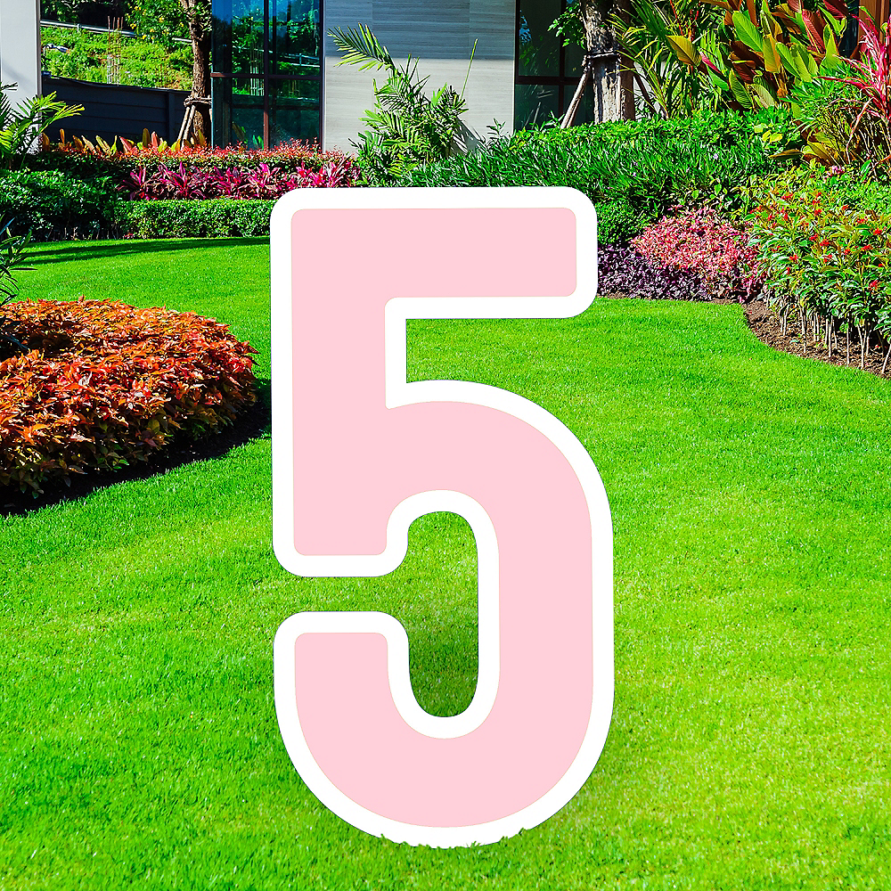 Giant Blush Pink Corrugated Plastic Number (5) Yard Sign, 30in Image #1