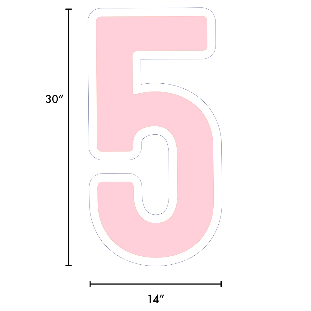 Giant Blush Pink Corrugated Plastic Number (5) Yard Sign, 30in Image #2