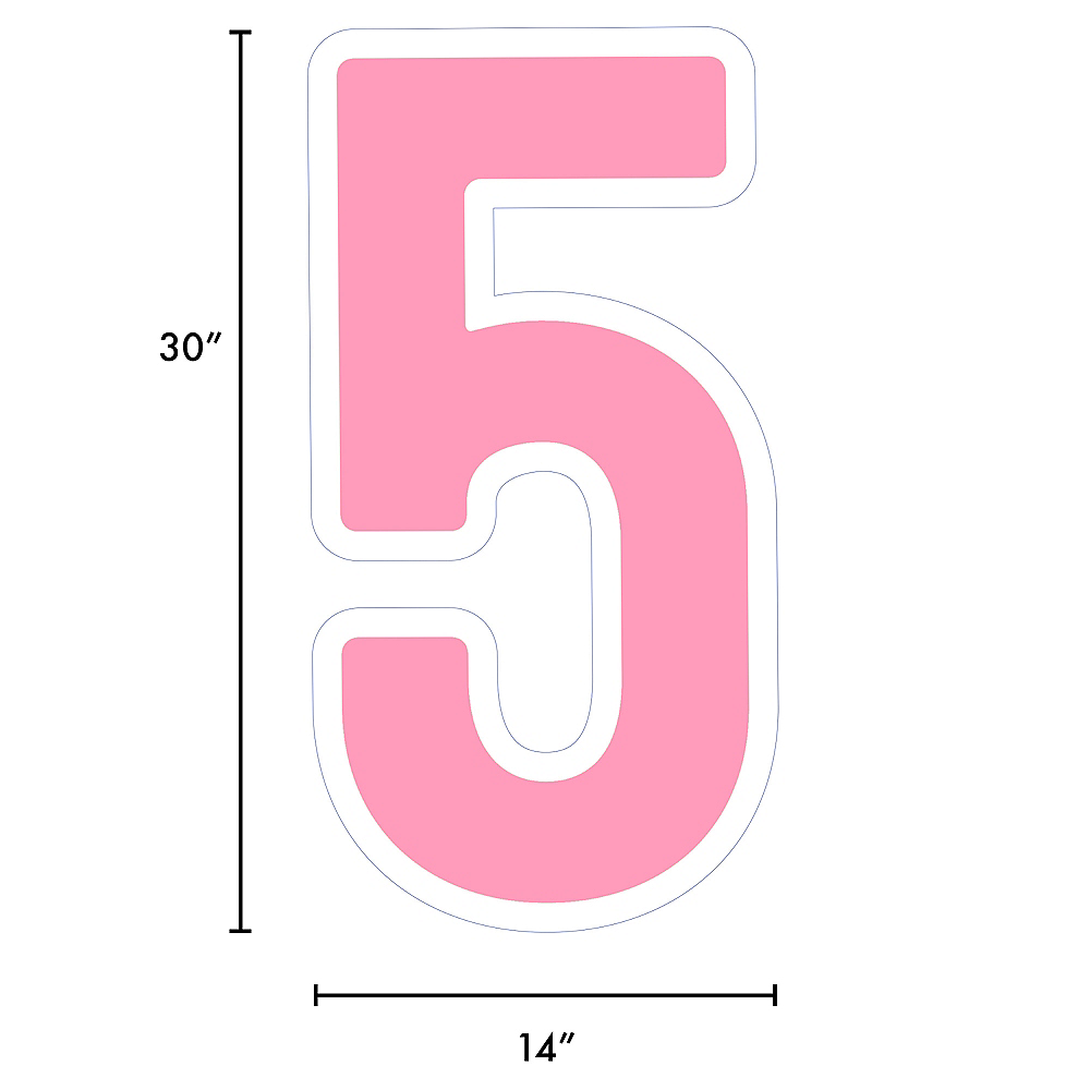 Giant Pink Corrugated Plastic Number (5) Yard Sign, 30in Image #2