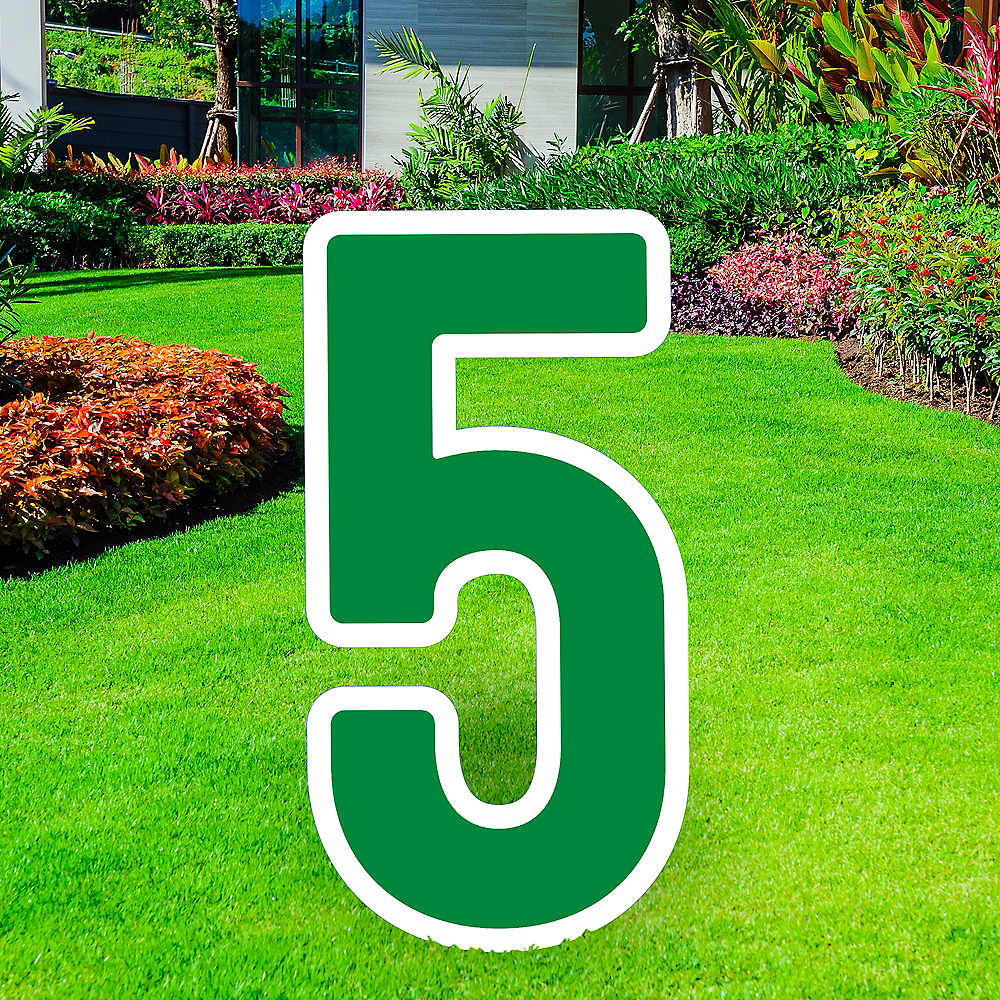 Giant Festive Green Corrugated Plastic Number (5) Yard Sign, 30in Image #1