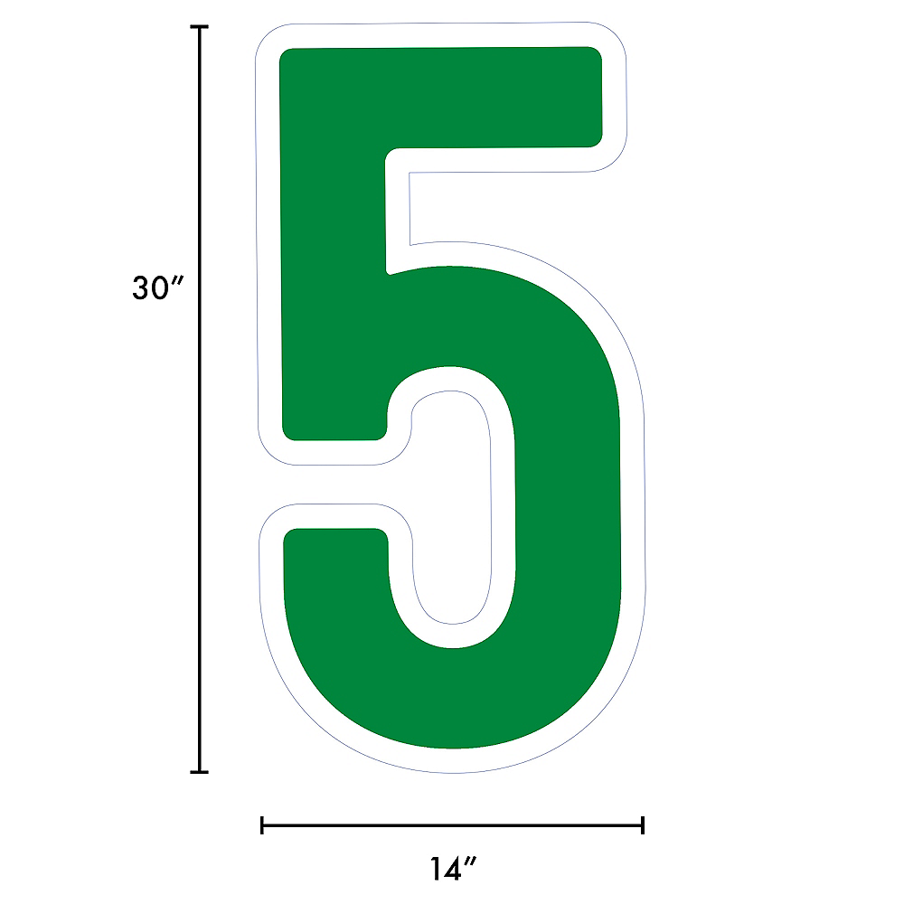 Giant Festive Green Corrugated Plastic Number (5) Yard Sign, 30in Image #2