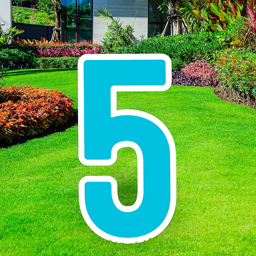 Giant Caribbean Blue Corrugated Plastic Number (5) Yard Sign, 30in Image #1