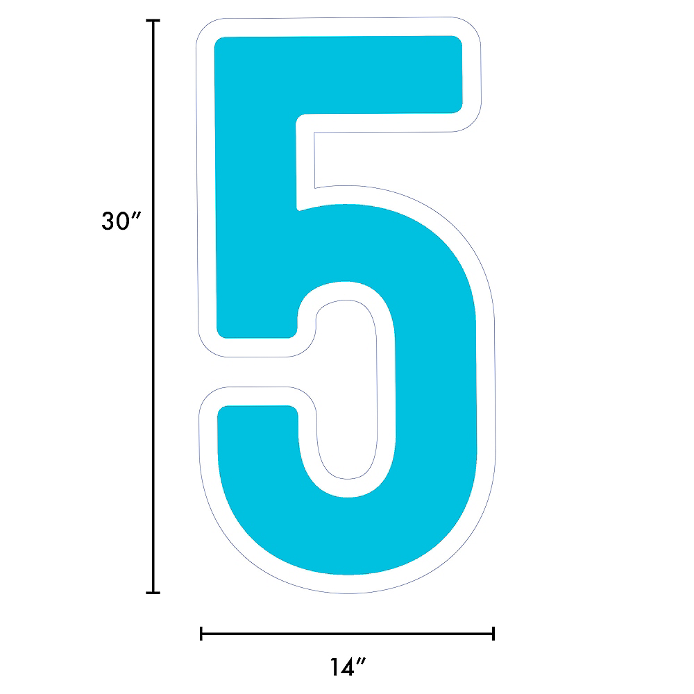 Giant Caribbean Blue Corrugated Plastic Number (5) Yard Sign, 30in Image #2