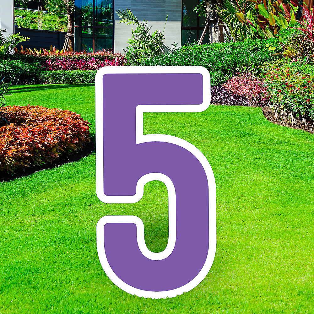 Giant Purple Corrugated Plastic Number (5) Yard Sign, 30in Image #1