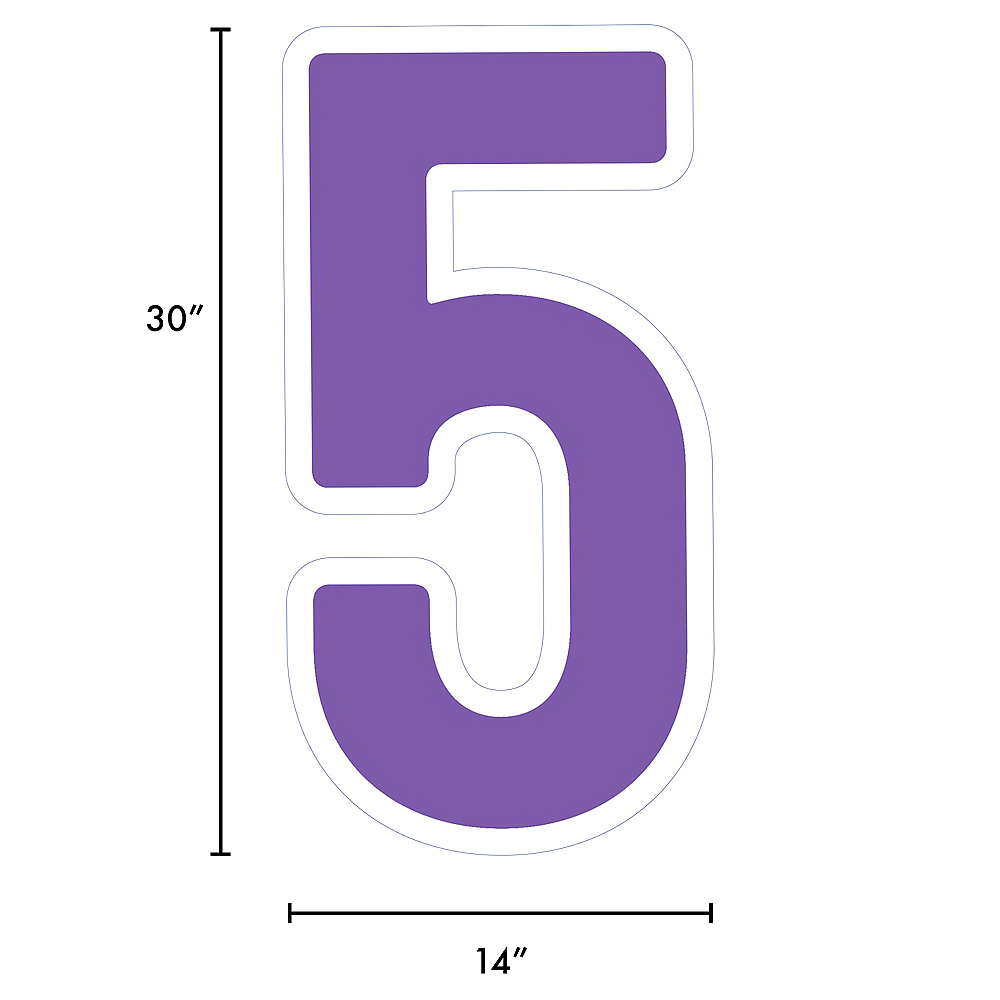 Giant Purple Corrugated Plastic Number (5) Yard Sign, 30in Image #2