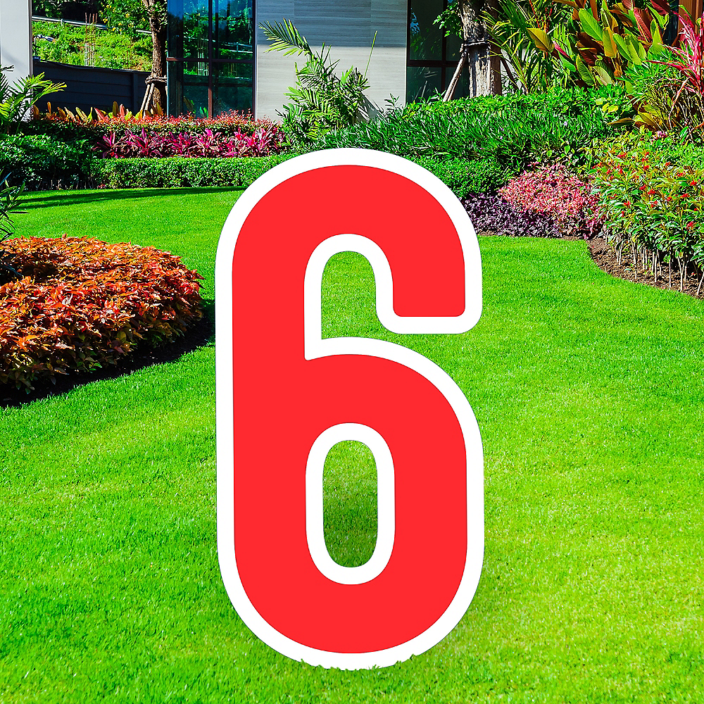 Giant Red Corrugated Plastic Number (6) Yard Sign, 30in Image #1