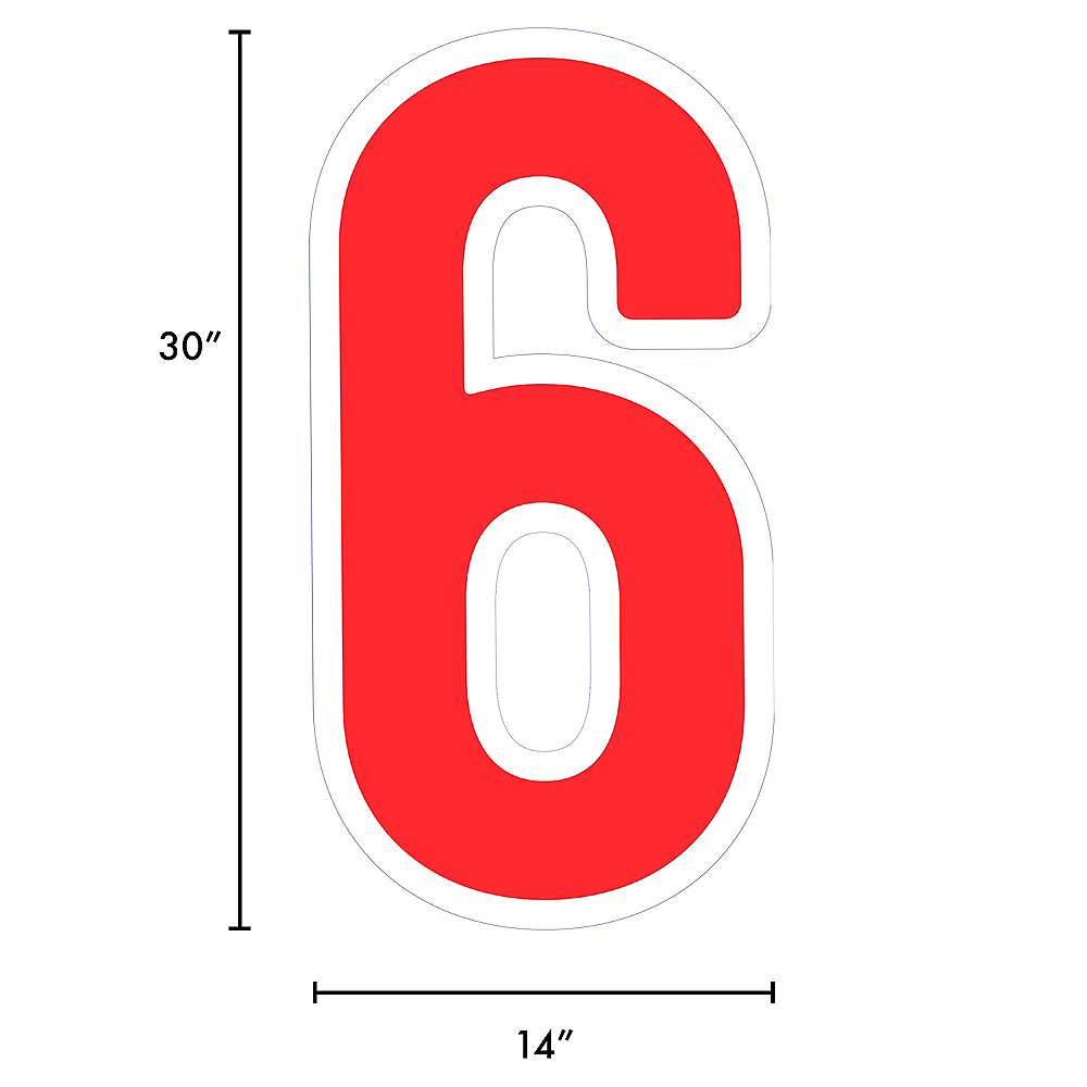 Giant Red Corrugated Plastic Number (6) Yard Sign, 30in Image #2