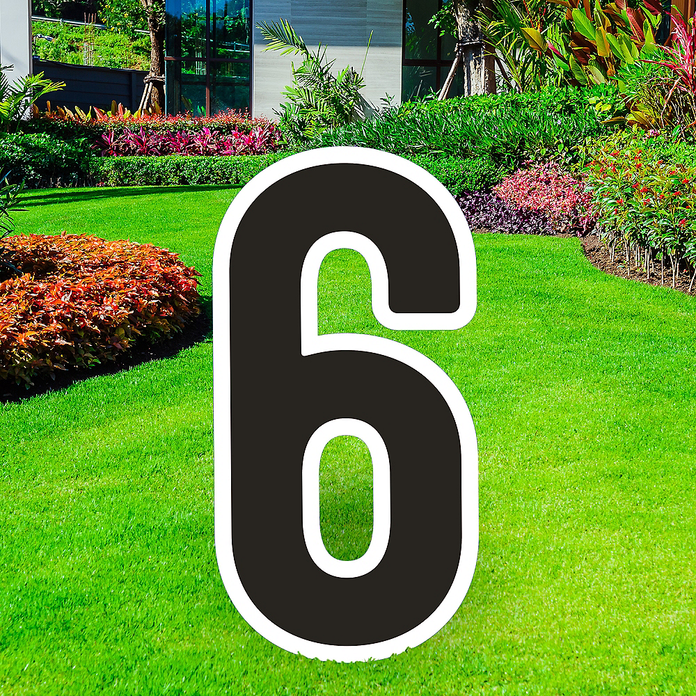 Giant Black Corrugated Plastic Number (6) Yard Sign, 30in Image #1