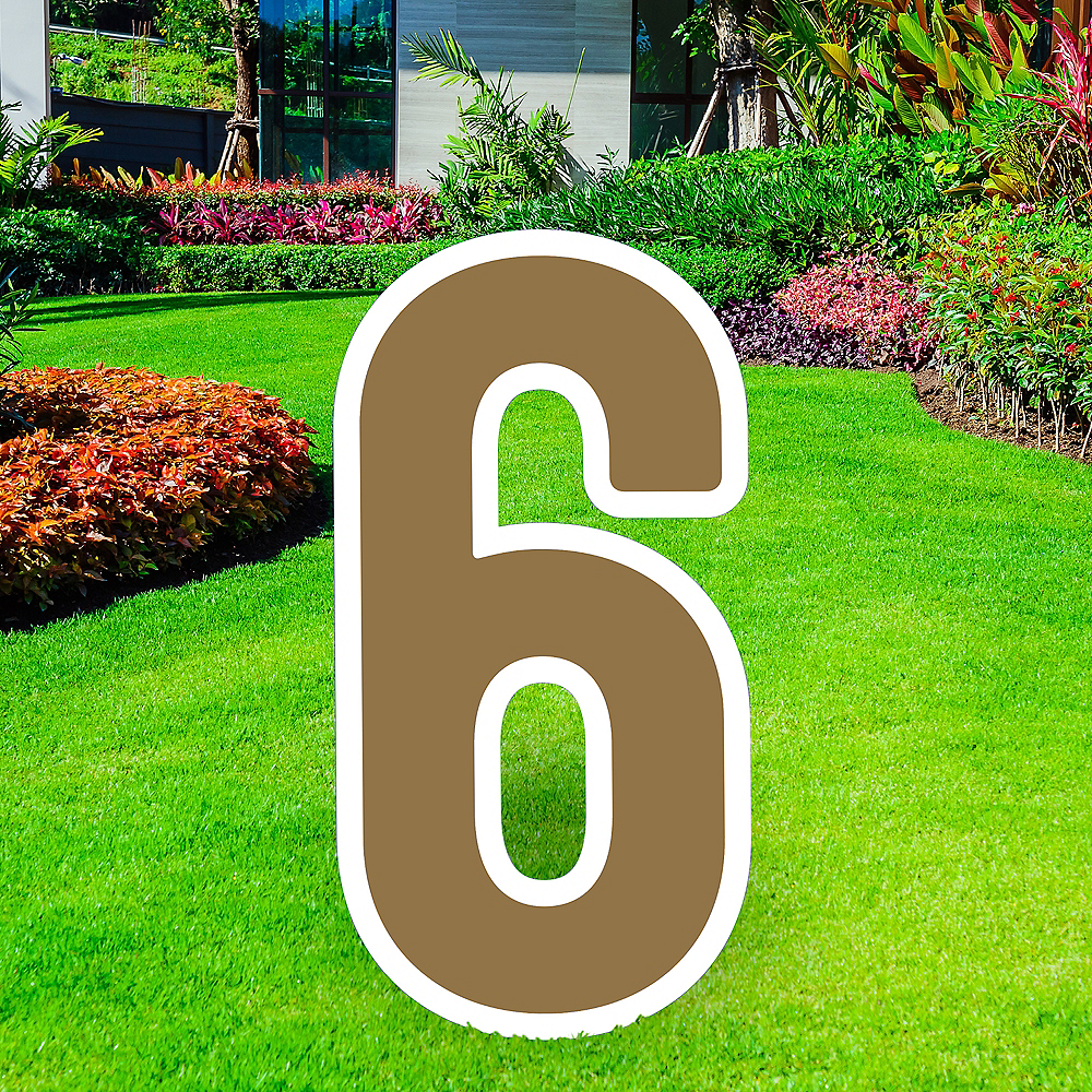 Giant Gold Corrugated Plastic Number (6) Yard Sign, 30in Image #1