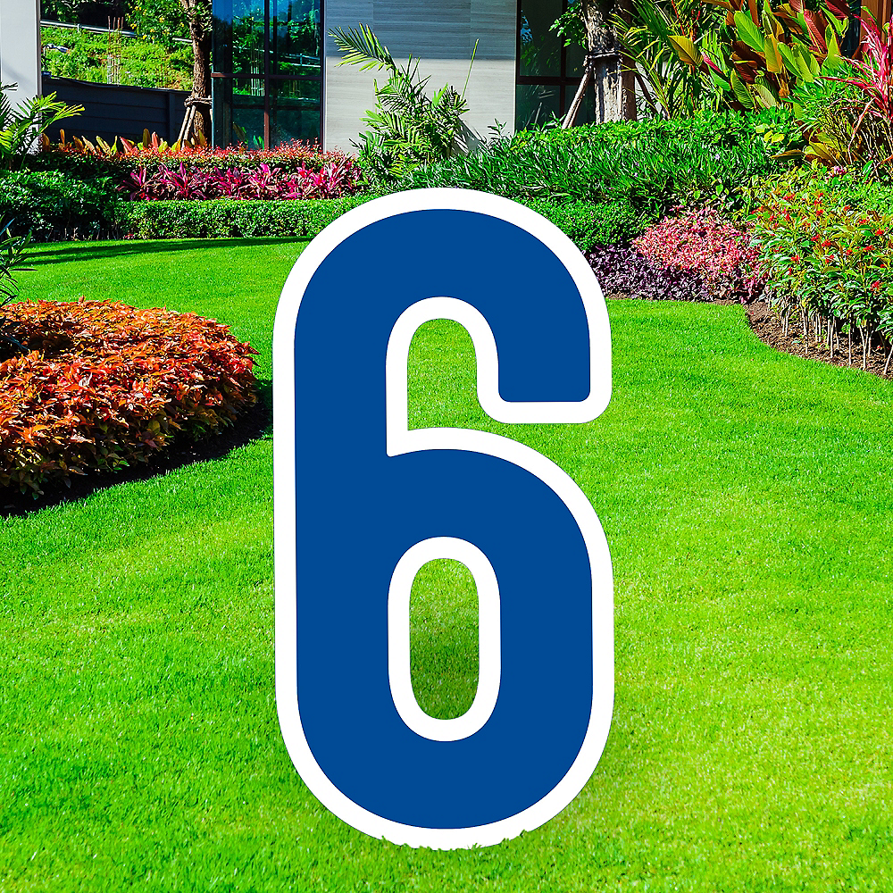Giant Royal Blue Corrugated Plastic Number (6) Yard Sign, 30in Image #1