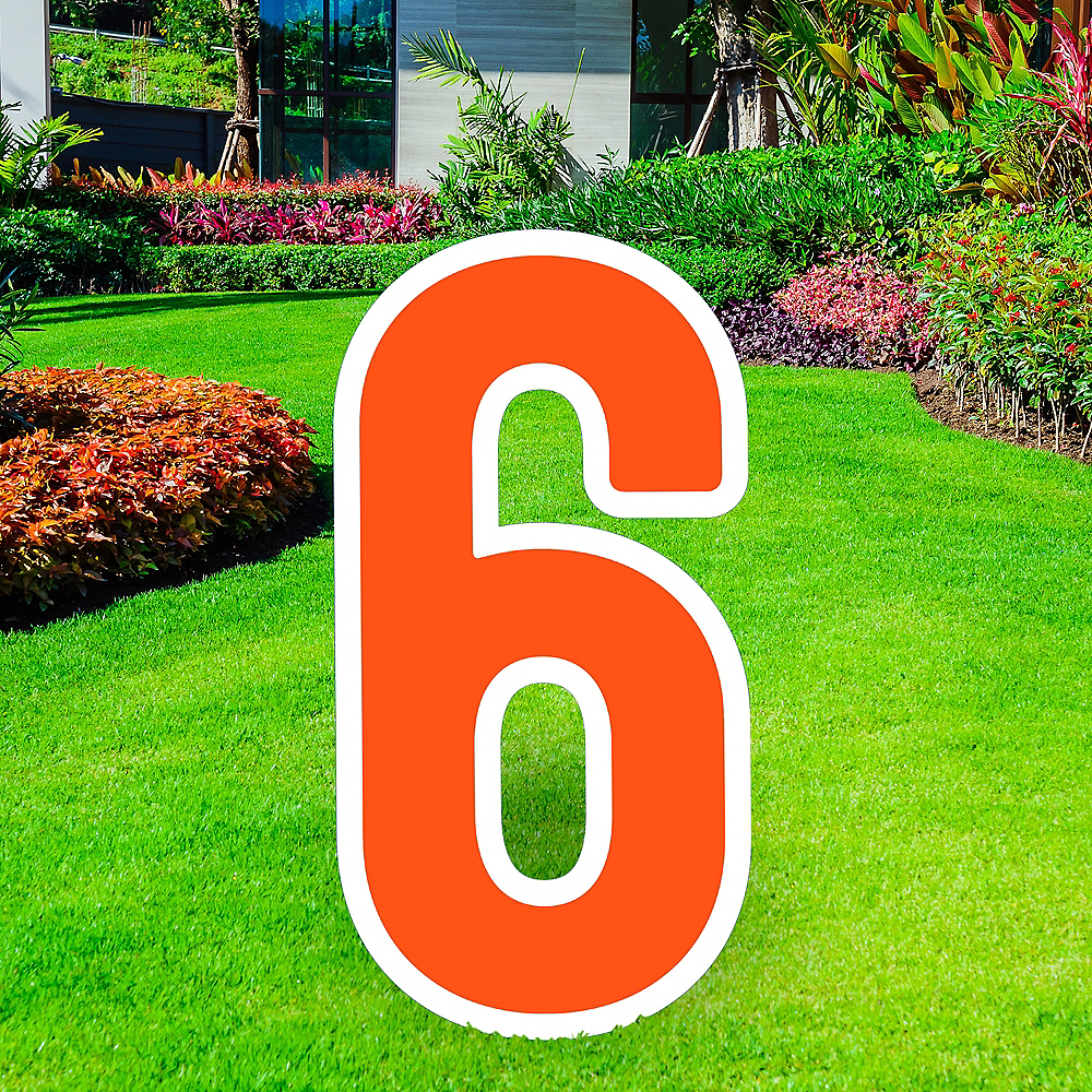 Giant Orange Corrugated Plastic Number (6) Yard Sign, 30in Image #1